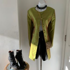 Not Branded green silk vintage button down Blazer